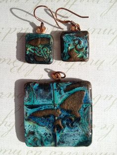 'Butterfly Window' Copper Patina Polymer Clay Pendant and Earrings Set by TTE Designs on Art FIre.  $22 Polymer Clay Pendant, Polymer Clay Art, Patina Color, Mixed Media Jewelry, Shrinky Dinks, Earring Set, Resin, Coin Purse, My Etsy Shop