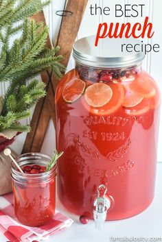 The BEST Punch Recipe - Easy Fruit Punch with Sprite - NO Ice Cream! - The BEST Punch Recipe for Any Party: made with Sprite (or lemon-lime soda), pineapple juice, kool-a - Refreshing Drinks, Summer Drinks, Fun Drinks, Healthy Drinks, Beverages, Best Party Drinks, Mixed Drinks, Layered Drinks, Party Drinks Alcohol