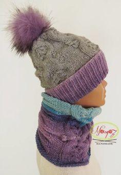 Margo77 __Girls Hat Cowl grey lilac