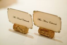 wine cork place cards - these are what marge was talking about last night Name Card Holder, Place Card Holders, Cork Place Cards, Wine Wedding Favors, Wedding Bells, Seating Cards, Place Names, Outdoor Wedding Venues, Wedding Reception