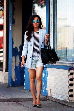 HallieDaily Zara Light Blue Oversized Blazer