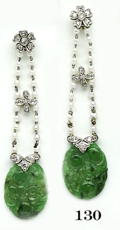 Edwardian Carved jade, diamond, natural pearl and platinum earrings