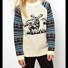 Bellfield ASOS Christmas Sweater, Stag/Deer Top New sweater with tags from ASOS.  The label is Bellfield.  Cute christmas jumper/ sweater with stag print and patterned sleeves. So comfy looking! Never worn, comes brand new in original packaging from ASOS.   Off White/Oatmeal color, size Medium.  100%  Acrylic. ASOS Sweaters