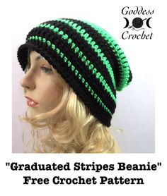 Graduated Stripes Beanie - free pattern from Goddess )O(Crochet. Worsted weight.