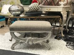 Antique and vintage furniture painted and reinvented in highly desirable styles. French Country Furniture, Country French, Vintage Furniture, Painted Furniture, Mall, Ottoman, Carving, Deep, Antiques