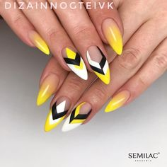 yellow nail design will be among the modest looks of nail designs. What makes the yellow nail art designs interesting is due to the many fun designs that you're able to create with them. The plan of your nails is dependent on you. Neon Nails, Diy Nails, Cute Nails, Yellow Nails Design, Yellow Nail Art, Gel Nagel Design, Geometric Nail Art, Nagellack Trends, Manicure E Pedicure