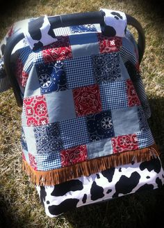 Little Buckaroo Baby Car Seat Canopy Cover Western Cowboy  Western Worthy in the Mormon Pioneer National Heritage Area