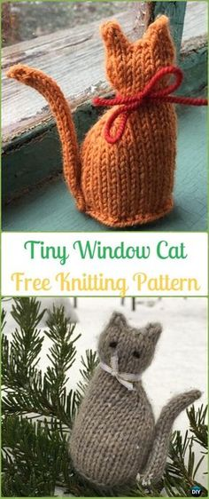 Amigurumi Tiny Window Cat Softies Toy Free Knitting Pattern - Knit Cat Toy Softies Patterns