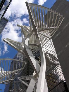 Calgary , Alberta ,Canada - Stephen avenue walking mall sculpture. - these turn rainbow at night - so beautiful !!!!