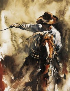 Got Im shows a cowboy on horseback roping a steer or calf to be worked with. It's a great skill the Cowboys have. Chris Owen does an incredible job of capturing the Cowboy way of life on the ranch. A great piece of artwork for the collector. Cow Girl, Chris Owen, Arte Equina, Art Watercolor, Into The West, Cowboy Horse, West Art, Le Far West, Equine Art