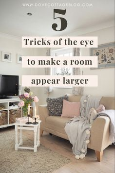 Tricks to make your small home and rooms look bigger, including ideas on how to maximise space, paint colour to choose, clever storage ideas, and ways to trick the eye into making a room appear larger than it really is. Small home living tips and advice. Living Room Rug Placement, Small Living Room Layout, Narrow Living Room, Big Living Rooms, Living Room Mirrors, Living Room Windows, Rugs In Living Room, Long Narrow Rooms, Small Lounge Rooms
