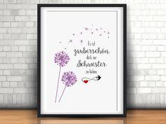 Schwester zauberschön Geschenk Familie Kunstdruck Fine Art Print von EdithsArt auf Etsy