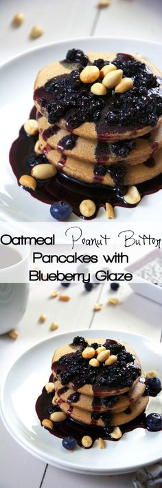 Pure grown up, peanut butter and jelly bliss right here with oat pancakes filled with greek yogurt and honey roasted peanut butter and topped with a simple two ingredient blueberry glaze!
