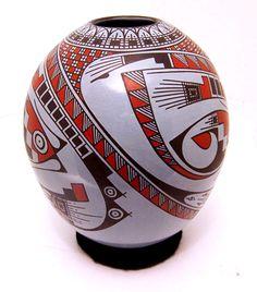 "Tanner Chaney : Mata Ortiz Pottery Aide Gonzalez Polychrome on Blue Pot J4304, $308, 8""h"