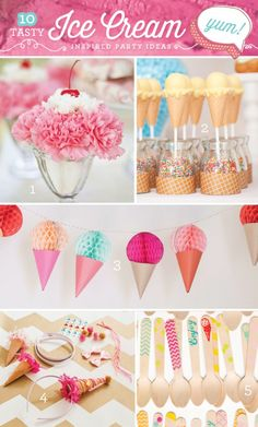 10 Creative {& Tasty!} Ice Cream Party Ideas - I love this! Cheaper than cake too!
