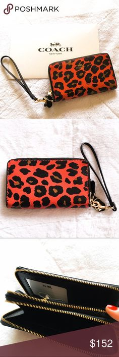 Coach Leopard Print Double Zip Wristlet / Wallet Make an offer! Stunning, brand new with tags wristlet from Coach. Incredibly rare to find now. Comes with an unused Coach gift box - perfect present for the holidays (or yourself - I won't tell!). Gorgeous ocelot leopard print in watermelon and black.  One side acts as a wallet, while the other fits small essentials (and likely your phone as well). Crossgrain leather and in perfect condition. Can bundle with my other Coach listing!  Coach Bags…