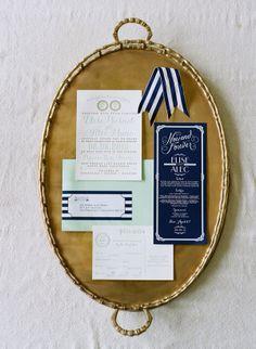 mint & navy wedding invitations