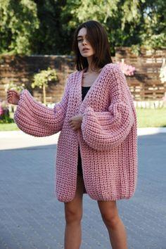 b9dd4078829 Chunky knit pink oversized cardiganslouchy cardigan Oversized knitted coat