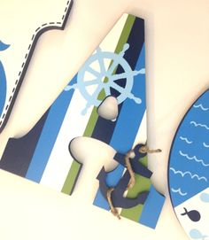 Personalized Wood Letters - Nautical Boys Theme with Anchor, Helm, Sail Boats, Stripes, Waves, Fish, Crabs and Stitched Edges