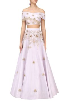 Lilac cross shoulder embroidered crop top and embellished skirt available only at Pernia's Pop Up Shop.