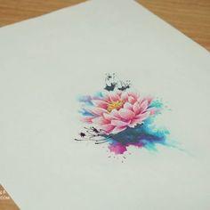 연꽃 수채화타투 커버업인건 안비밀:) 도안보다도 타투가 더 예쁘게 나와서 기분 좋았습니다:) #연꽃 #수채화타투 #타투 #타투도안…