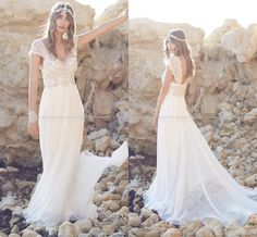 Wholesale buy wedding dress online, cheap wedding dresses for sale and custom wedding dress on DHgate.com are fashion and cheap. The well-made anna campbell 2016 new crystal beaded chiffon beach wedding dresses 2015 rhinestone short sleeves backless floor length bridal gowns lh07 sold by reliaevents is waiting for your attention.