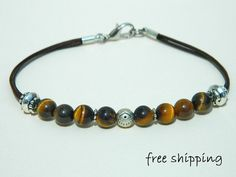 Bracelet  for men,Unisex bracelet,Tiger Eye bracelet,Evil Eye bracelet,Gemstone bracelet,Yoga bracelet,Leather bracelet,Energy bracelet,