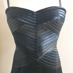 BCBGMaxAzria Satin Bandage Dress Sold out online, retail $318. Straps are detachable so this can be worn two ways! Super flattering! Color is called Smoke Combo BCBGMaxAzria Dresses