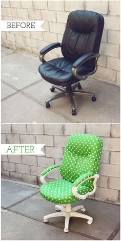 How to transform an old office chair - Tutorial # . - Do it yourself- Gewusst wie: Einen alten Bürostuhl verwandeln – Tutorial # … – Selbermachen How to transform an old office chair … - Office Chair Makeover, Furniture Makeover, Office Decor, Office Ideas, Office Chair Covers, Best Office Chair, Furniture Projects, Diy Furniture, Diy Projects