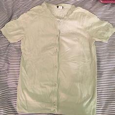 Jcrew short sleeve cardigan Short sleeve light green cardigan in great condition. J. Crew Sweaters Cardigans
