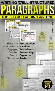 When writing essays, students often struggle with structure. These resources are designed to help them understand how to correctly structure their paragraphs so that each one deals with a single topic, is clear, well structured and fluent.