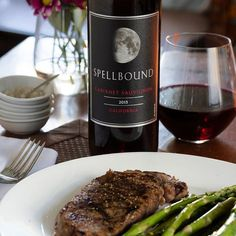 Perfectly cooked steak and a glass of Spellbound Cabernet. Just the right touch of elegance to warm up the week. #CabernetSauvignon #BeSpellbound