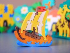 Ship Puzzle. Wooden Puzzle. Kids wooden Toy. Eco by ArtGiftStore, $10.00