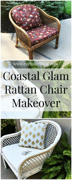 Hi! It's Themed Furniture Makeover Day and this month's theme is  Coastal!   I am excited to share with you my Coastal Glam Rattan Chair Mak...