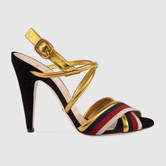 Sandales en cuir métallisé Sylvie GUCCI