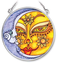 Amia Hand Painted Glass Suncatcher with Sun and Moon Design, 3-1/2-Inch Circle by Amia. $13.46. Handpainted glass. Comes boxed, makes for a great gift. Includes chain. Amia glass is a top selling line of handpainted glass decor. Known for tying in rich colors and excellent designs, Amia has a full line of handpainted glass pieces to satisfy your decor needs. Items in the line range from suncatchers, window decor panels, vases, votives and much more.