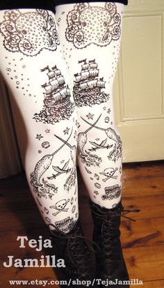 Pirate Printed Tights Womens Sailor Tattoos Small Medium Black Pearl on White Narwhal Octopus Squid. $25.65, via Etsy.
