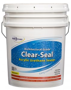 5 Gallons (Ready To Use) Architectural Grade, Warranty, HIGH GLOSS Urethane Based Sealer for Masonry / Wood Rainguard CLEAR-SEAL Acrylic Urethane Sealer is a single-component, self-cross-linking u Interior Paint Sprayer, 5 Gallon Pail, Brick Pavers, Pool Pavers, Concrete Patios, Concrete Stone, Concrete Table, Stained Concrete, Brick Laying