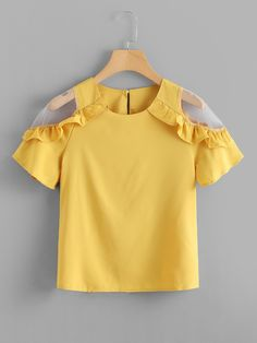To find out about the Sheer Panel Frill Trim Blouse at SHEIN, part of our latest Blouses ready to shop online today! Casual Fall Outfits, Kids Outfits, Cute Outfits, Fashion Kids, Girl Fashion, Fashion Outfits, Blouse Styles, Blouse Designs, Frocks For Girls