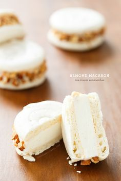 Almond Macaron Ice Cream Sandwiches with vanilla bean almond ice cream and crunchy chopped almonds.
