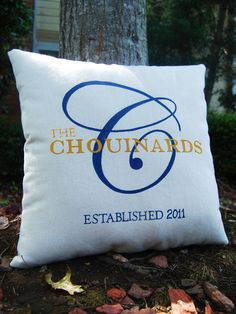 Custom Personalized Family Name Canvas Pillow- Perfect for Two Year Anniversary Gift (Cotton). $48.00, via Etsy.