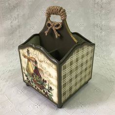 New Jewerly Box Plans Wooden Ideas - hali Decoupage Vintage, Decoupage Box, Home Crafts, Diy And Crafts, Paper Crafts, Tole Painting, Painting On Wood, Condiment Caddy, Cutlery Holder