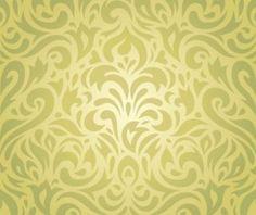 Floral green vintage retro wallpaper vector background