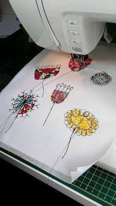 Freehand Machine Embroidery, Free Motion Embroidery, Free Motion Quilting, Embroidery Stitches, Sewing Machine Embroidery, Sewing Art, Sewing Crafts, Sewing Patterns, Machine Quilting Designs
