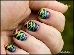 Rainbow Gradient Zebra Nails by LaynieFingers - freakin' awesome!