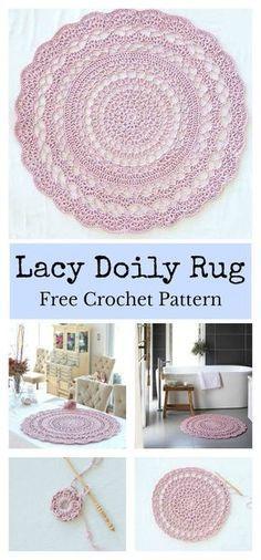 Lacy Doily Rug Free Crochet Pattern – Your Crochet Crochet Doily Rug, Crochet Rug Patterns, Crochet Carpet, Crochet Mandala Pattern, Tatting Patterns, Crochet Shawl, Dress Patterns, Crochet Tree, Crochet Ruffle