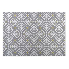 Kavka Designs / Grey/ Yellow Kissing Tulips 2' x 3' Indoor/ Outdoor Floor Mat