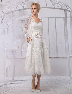 Wunderschönes A-Linie-Brautkleid aus Spitze und Rundkragen mit Gürtel wadenlang in Elfenbeinfarbe Milanoo-No.6
