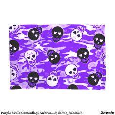 Purple Skulls Camouflage Airbrush Art Pattern Pillowcase