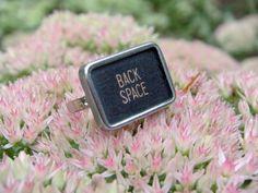 Square Black Vintage Typewriter Key Ring BACK SPACE on by luv4sams, $17.00